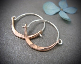 mini minimalist … rose gold mixed metal hoops