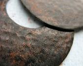 Blackened Brushed Hammered Copper Hoop Findings - 1 pair
