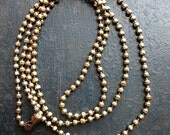 30 inch Antiqued Brass Faceted Ball Chain Necklace