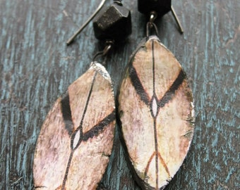 Fiercely Protected Earrings - Artisan Ceramic Shields and Faceted Pyrite