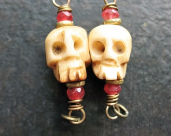 Skull Carved Bone Bead Connectors or Charms - 1 pair