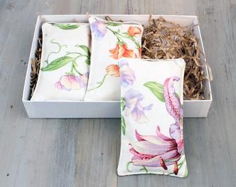 Lavender Sachet Gift Set, Fragrance Sachets, Botanical Style, Drawer and Closet Freshener