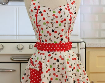 The MAGGIE Vintage Inspired Cherries on White Full Apron