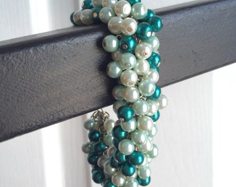 Teal Mermaid Pearl Beaded Bracelet