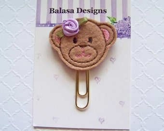 Teddy Bear Planner Clip, Bookmark, Planner Accessory, Paper Clip