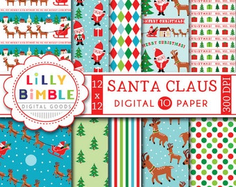 60% off SANTA CLAUS Digital Scrapbook Paper for Christmas, red and green, reindeer, sleigh, trees, fun and cute Instant Download