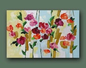 Floral Painting Landscape Original Wall Decor Abstract Art Impressionist Flower Painting Red Roses Acrylic Painting on Canvas by L Monfort