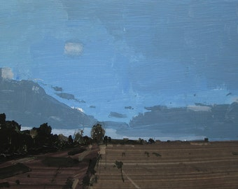 Snow Coming, Orignal Landscape Collage Painting on Panel, Stooshinoff