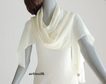 Ivory Sheer Scarf Pale Yellow Sash Belt, White Skinny Scarf Wedding Bridal, Pure Silk Chiffon, Artisan Handmade