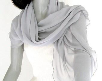 Gray Silk Shawl, Silver Silk Wrap, Petite Gray Wrap, Medium Grey Scarf, Pure Silk Coverup, 100% Natural Silk, XS, S Petite, M, Artinsilk.