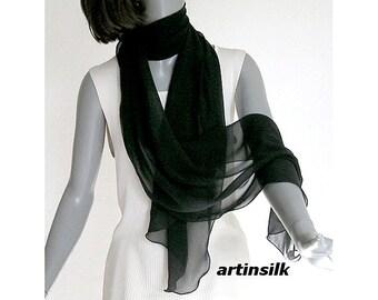 "Long Black Scarf Silk Chiffon Wrap Sheer Narrow Shawl, See through Wrap, Evening Formal, Wavy Edge, Pure Mulberry Silk 17x84"" M L, Artinsilk"
