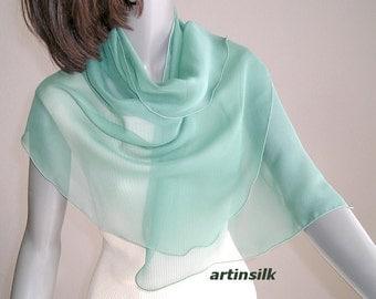 Sage Silk Scarf, Petite Sage Coverup, Medium Sage Shawl, Sheer Silk Wrap, Shoulder Scarf, Light Green, Petite S XS M L, Plus Size, Artinsilk
