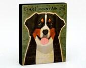 """Bernese Mountain Dog Art Block 4"""" x 5""""- Dog Art Print- DogPrint- Dog Wall Decor- Dog Gifts for Husband- Dog Gifts for Dog Lovers- Boss Gifts"""