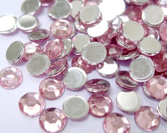 Acrylic Rhinestone Cabochon Beads, Faceted, Circle, Pink, 6mm, 500pcs