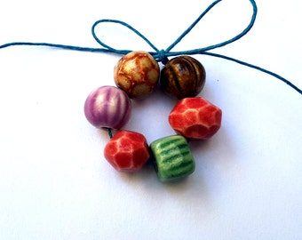 Bundle of Colors Ceramic Porcelain Clay Bead Mix Handmade Red Pink Brown Peach Green Latte