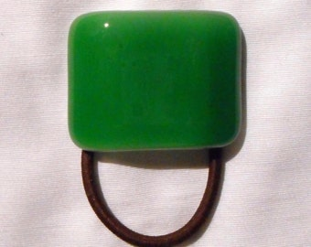 Green Ponytail Holder, Translucent Green and White Fused Glass, Handmade Hair Accessories, Women's Accessories, Green Glass Hair Tie