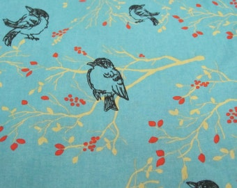 Bird on Branch Print  Fabric