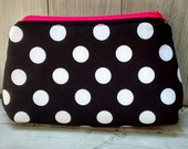 Cosmetic Bag or Zippered Pouch - Perfectly Posh Inspired - Black and White Dots with Hot Pink accents