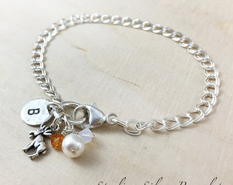 Sterling Silver Moose Charm Bracelet, Personalized With An Initial Charm And Birthstone, Personalized Bracelet, Moose Jewelry