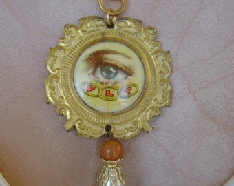 Oddly Enough - Antique Oddfellows Medal Eye Vintage Pearl Recycled Repurposed Jewelry Necklace