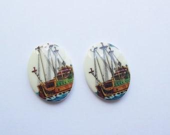 ON SALE Vintage nautical ship cabochons
