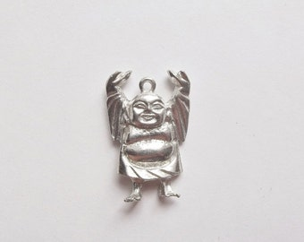 On Sale Vintage silver laughing buddha pendant
