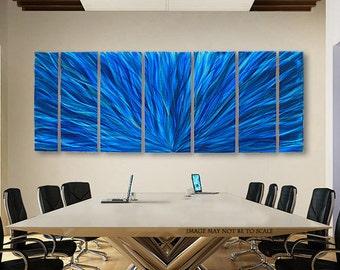 Huge Contemporary Metal Wall Art, Oversized Blue Multi Panel Decoractive Abstract Wall Art for a Modern Decor - Blue Plumage XL by Jon Allen