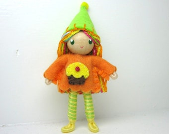 Birthday Cupcake Bendy Doll by Princess Nimble-Thimble- Waldorf Birthday Party Cake Topper Girl, Bendable Felt Doll, Cupcake Party Favor