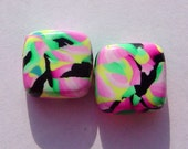 Pink Black Handmade Artisan Polymer Clay Beads Pair