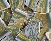 Mosaic Tiles Broken Plates Tesserae Supply Green Blue Vintage Retro