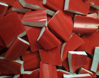 Red Solid Mix of Colors Fillers  Mosaic Tiles Broken Plate Pieces Art Tesserae 100