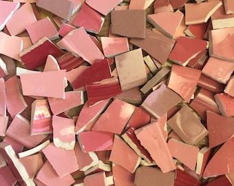 Mosaic Tiles Broken Plates Tesserae Art Supply Color Pink 200 Mix Solid Filler China Pieces Set Assortment