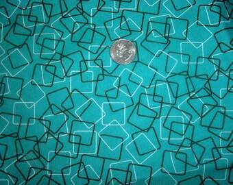Quilt Fabric Destash Geometric Turquoise with Black Squares  24 inches