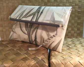 Envelope clutch, Neutral tones Bamboo upholstery fabric clutch, zipper clutch, fold over clutch, casual clutch bag, one of a kind, handmade