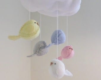 Baby mobile - nursery decoration in pastel colours - cloud mobile - bird mobile
