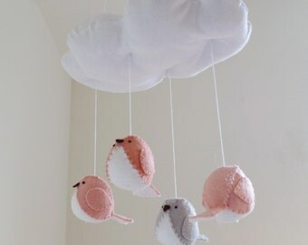 Baby mobile - nursery decoration in peach and grey - bird mobile