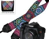 DSLR Camera Strap,   Padded Camera Strap,  Nikon Camera Strap, Canon Strap,  Camera Accessories, Bohemian Colorful blue purple orange RTS