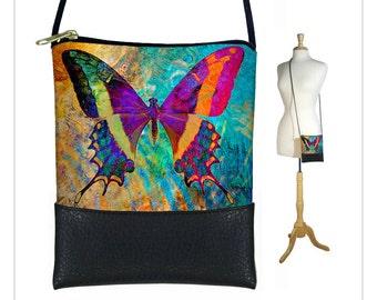 Butterfly Cross body bag, Boho sling bag, Cell phone purse fits iPhone 6 Plus, Small shoulder bag, Art Nouveau, blue purple orange RTS