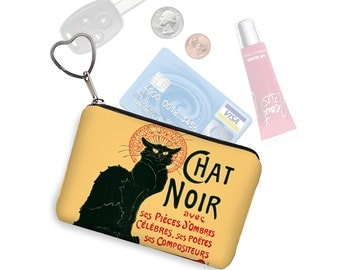 Le Chat Noir Small Zipper Pouch Coin Purse Keychain Key Fob Fabric Business Card Holder Art Nouveau   Black Cat Lover Gift red yellow RTS
