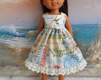 14 and 14.5 Inch Doll Clothes Dress Hydrangea Passion Words of Wisdom Medley