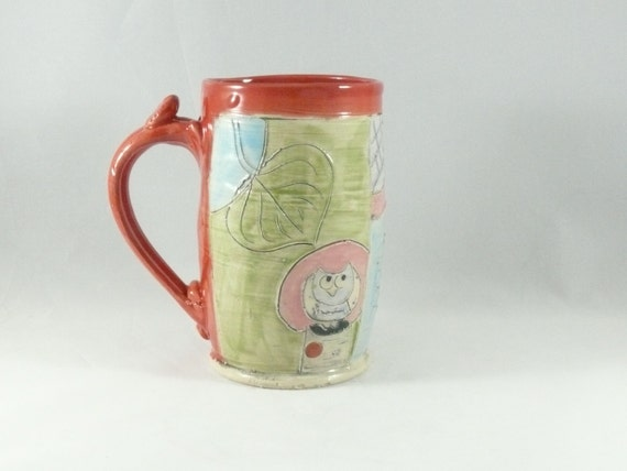 Dad Beer Stein or Tankard - Ceramic Coffee Cup or Mug  pottery mug  - Large 20 ounce in Red  Fathers Day Man Mug299