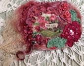 Felted lavender filled embellished brooch rose theme