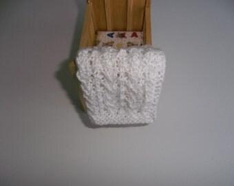Miniature Blanket, White Miniature, Crib Doll House Blanket/Afghan - One Twelfth Scale Doll House - Gift Idea