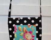 Girls Tote Bag - Polka Dot Purse - Black White Purse - Girls Polka dot Purse - Aqua Floral - Girls Church Bag -