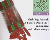 Scottish Rubber Stamps Grab Bag Special 13 Assorted Unmounted Stamp Designs A Baker's Dozen SHOP SPECIAL