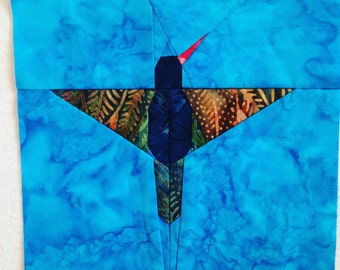 Flying Hummer Paper Pieced Quilt Block Pattern