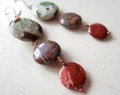 Chrysoprase Chrysocolla Poppy Jasper Nexus Gemstone Earrings - Copper - Etsy Jewelry - catROCKS - Green Brown Blue Red - Circles - Trio