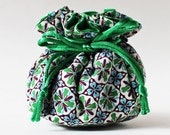 jewelry pouch travel jewelry case jewelry roll green blue kaleidoscope geometric drawstring bag jewellery case