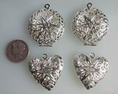 Silver Plate Filigree Lockets for Photos, Treasures & Aromatherapy Perfume Diffusers, 2 Hearts and 2 Circles, 26mm - 4 Lockets