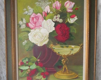 Vintage Romantic Floral Roses & Angel Cupid Oil, Hidden Hearts, Painting Framed 21 x 25 Inches, Shabby Cottage Victorian